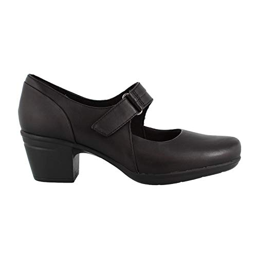 CLARKS Emslie Lulin Womens Mary Jane Pumps Black Leather 7 W