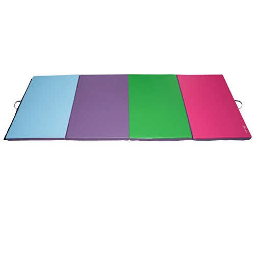Soozier PU Leather Gymnastics Tumbling/Martial Arts Folding Mat, Blue/Purple/Green/Pink, 4 x 10' x 2'' by Soozier