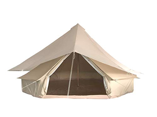 Bell Tent 100% Cotton Canvas Waterproof Large Tents for Family Camping 4 Season Waterproof Outdoors Yurt Bell Tent Glamping (Diameter 4m/13.12ft)