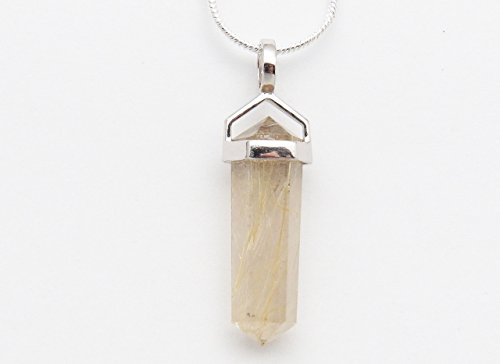 Rutile Quartz Pendant - Fundamental Rockhound: Natural Gold Rutilated Quartz (Rutile) Pendant Necklace with 18