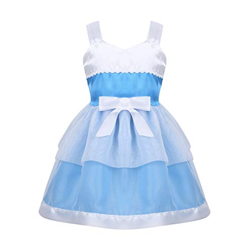dPois Baby Girls' Birthday Halloween Party Princess Tutu Dresses Fairy Tale Character Cosplay Fancy Dress Up Sky Blue 2-3 ()