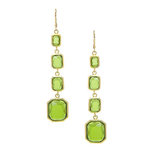Rivka Friedman 18K Yellow Gold Clad Faceted Peridot Crystal Multi Drop Leverback Earrings - Peridot Signature Collection