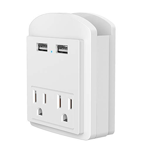 Price comparison product image Multi Wall Outlet USB Wall Charger with Phone Holder Outlet Extender Surge Protector with Dual Outlets and Dual USB Ports (White)