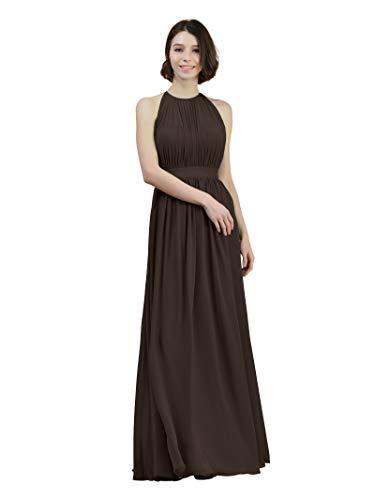 Alicepub Halter Illusion Bridesmaid Dress Chiffon Formal Evening Prom Gown Maxi, Espresso Brown, US16