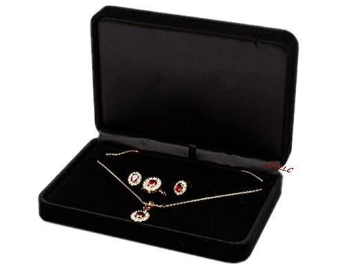 - Lily Treacy Deluxe Large Jewelry Set Gift Box Black Velvet for Necklace Earrings Rings Set (Black 170x120x40mm)