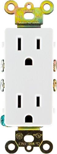 GE 50727 Grounding Duplex Receptacle, Designer 15A/125VAC, White