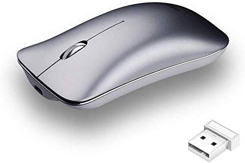 Wireless Mouse Cordless Fast-Scrolling Ultra Silent Smooth Optical Wireless Mice Built-in Battery with USB Nano Receiver for PC Laptop Chromebook Notebook-Silver