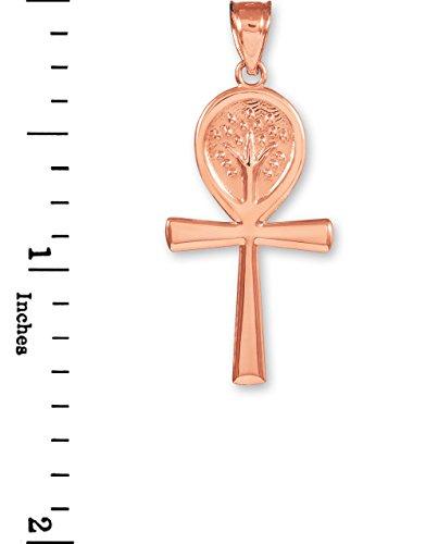 Petits Merveilles D'amour - 10 ct 471/1000 or Rose Croix Ankh Arbre de la Vie Collier Pendentif (Livré avec un 45 cm Chaîne)