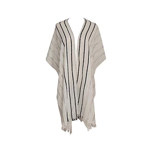 (Striped Linen Kimono Loose Bathing Suit Cover- Sheer Textured Cardigan Shawl Cape Top (White, Black and Metallic Silver Striped with Hints of Tan))