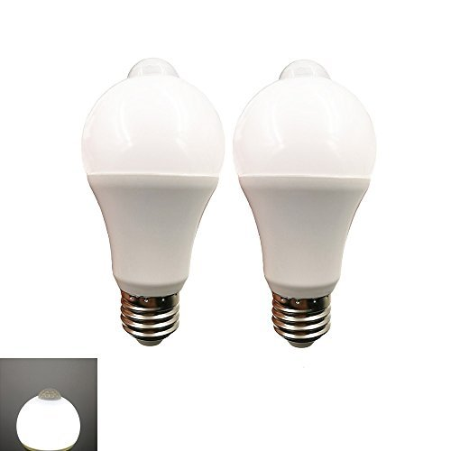 LED電球 広配光タイプ 人感センサー付き 明暗センサー 室内センサーライトト 自動点灯/消灯 センサーライト E26口金 led センサー 60W形相当 (昼白色7W-2個セット)