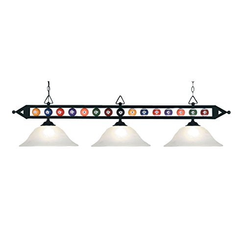 Designer Classics 3-Light Billiard/Island In Matte Black With White Faux Alabaster Glass Shades