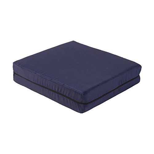 DMI Foam Seat and Wheelchair Cushion with Cover, 18 x 16 x 4, Navy - Comfort Wheelchair Padding