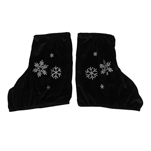 Prettyia 2pcs Ice/Figure/Roller Skate Boots Shoes Cover Protecting Tool with Snowflake Image, Rose Red, White, Black - Black-M, as described
