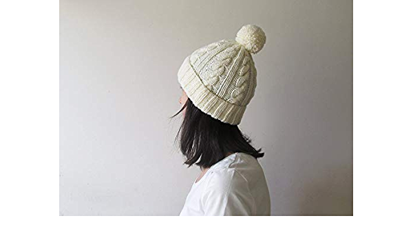 Hand-Knitted Gold Wool Cable Adult Fold-over Hat with Pom-Pom.