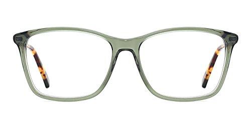 TIJN Semi-Transparent Wayfarer Acetate Eyeglasses Frame Zebra Arm (F, 53)