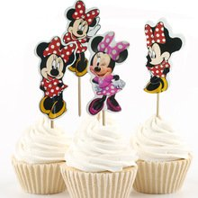 Disney Minnie Mouse Dessert Muffin Cupcake Toppers for Baby Shower Birthday Party (Pack of 24) (Cupcakes Minnie Mouse)