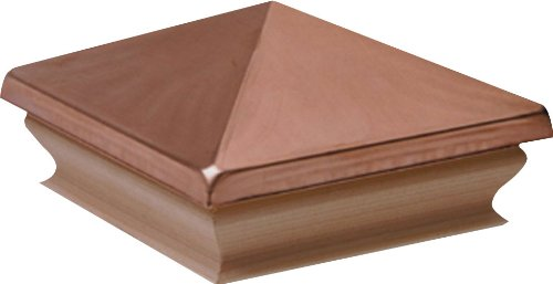Woodway Large Pyramid Fence Post Cap 6 x 6– Copper Outdoor Cap for Garden Deck Patio with Plywood Base, 8 Pack