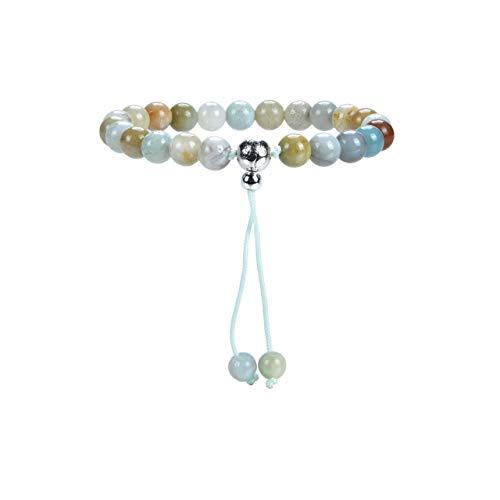 Cherry Tree Collection Mala Bracelet | 8mm Natural Gemstone Round Beads, Guru Bead, Durable Nylon Cord | Adjustable Length | Men and Women (Amazonite Multi-Color - S/M)