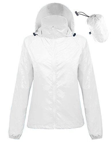 White Show Jacket - Kate Kasin Men's Unisex Packable Sports Jacket Windproof Poncho (XXL,White1001)