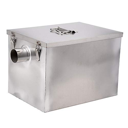 Wifond Commercial 201 Stainless Steel Oil Fats Grease Trap 8lb 5 Gallons Per Minute Interceptor for Kitchen Restaurant - Side Entrance