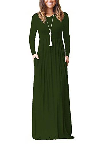 Dasbayla Abiti Lunghi Scollo Rotondo Donna Camicia Vestito Vestitini Abito Manica Corta S-XXL Manica Lunga-verde
