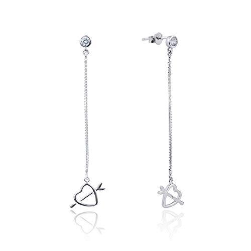 Women 925 Sterling Silver Stud Hollow Heart Shaped Cupid Sword Drop Earrings Simple Fashion Jewelry