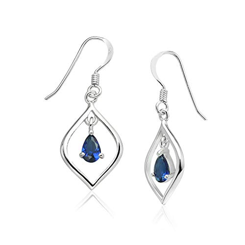 Big Apple Hoops - Genuine 925 Sterling Silver ''Royal Blue Lover'' Sapphire Glass Stone Swing in Teardrop Hoop Dangle Hook Earrings | in Beautiful Polish ()