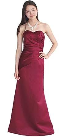 Faironly Stock Strapless Burgundy Satin Bridesmaid Dresses (XL)