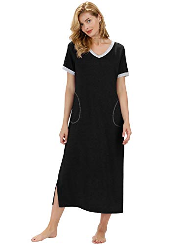 Zexxxy Long Nightgown for Women Ultra-Soft Nightshirt Full Length Sleepwear with Pocket M Black - Tea Length Nightgown