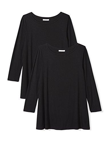 Amazon Brand - Daily Ritual Women's Jersey 3/4-Sleeve Bateau-Neck Swing T-Shirt, Black/Black, Small (Best Full Sleeve T Shirts Brands)