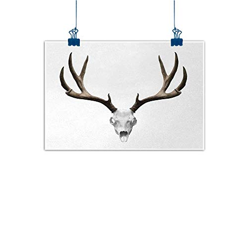 Outdoor Nature Inspiration Poster Wilderness Antlers,A Deer Skull Skeleton Head Bone Halloween Weathered Hunter Collection,Warm Taupe Light Grey 36
