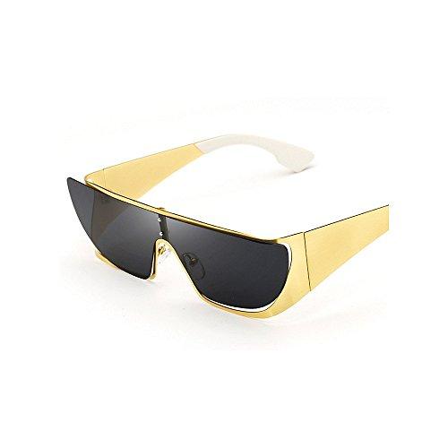 Big lunettes les Piece lunettes Coloré One femmes en conduite surdimensionné soleil yeux cadre chat de hommes Style Lady métal et Lens soleil protection Rétro les de Lens soleil Or UV pour de lunettes F8qagw55