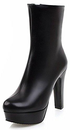 Idifu Donna Eleganti Stivali Alti Alla Caviglia Con Tacco Alto E Tacco Alto Con Plateau Nero