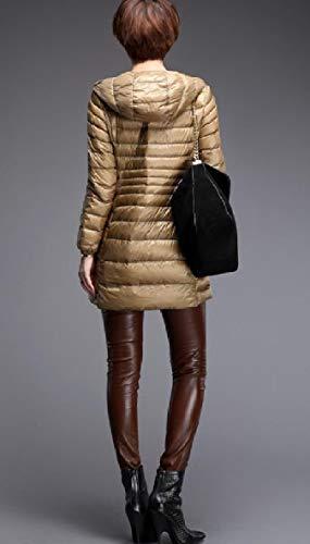 Kaki Full Zip size Xinheo Donna Ultraleggero Plus Outwear Da Piumini Cappuccio Con Packable qgnpqZS