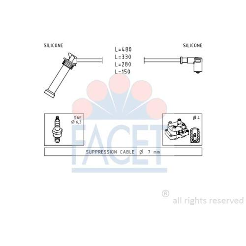 Facet 4.9614 Ignition Leads Kit:
