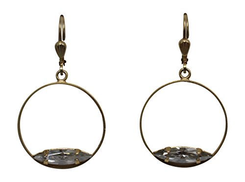 Catherine Popesco La Vie Parisienne Antiqued Marquise Hoop Swarovski Crystal Earrings