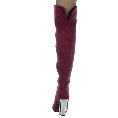 Angkorly Women's Fashion Shoes Thigh Boot - reversible - soft - modern Block high heel 10 CM Wine kqm0cna