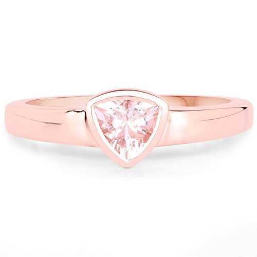 LoveHuang 0.32 Carats Genuine Morganite Trillion Bezel Ring Solid .925 Sterling Silver With 18KT Rose Gold Plating