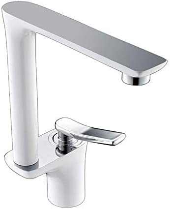 キッチンのシンクの蛇口真鍮ラッカーセラミックバルブコアロータリー蛇口洗面台の蛇口ホット/コールドウォーターミキシング