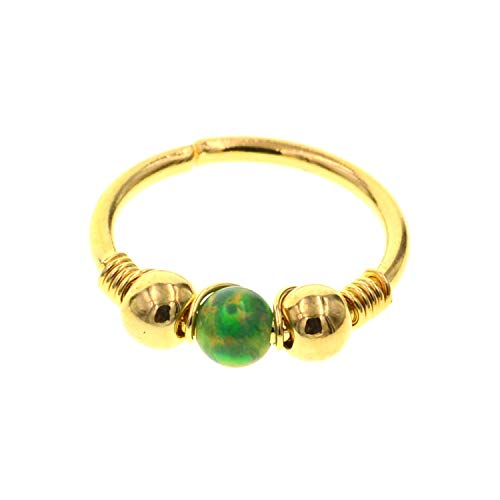 1Pc Opal Helix Piercing Tragus Piercing Septum Fake Nose Ring Ear Piercing Nostril Pircing Cartilage Hoop Earrings,Golden Green Opal
