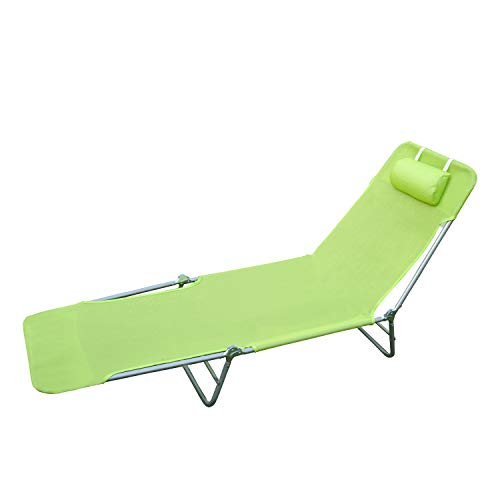 🥇 HOMCOM Tumbona Inclinable Plegable para Jardin Playa o Piscina con Almohada Acero y Textilene 182x56x24.5 cm Verde