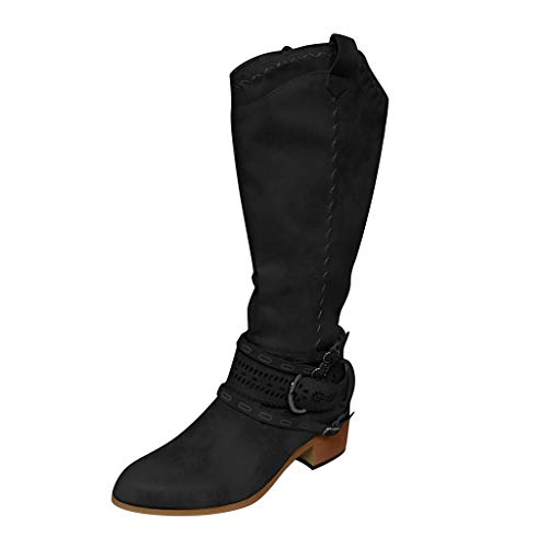 Women's Knee High Western Boots   Ladies Cowboy Pointed Toe Buckle Boot Vintage Pull on Tabs Bare Shoes Boots (8.5 M US, Black)