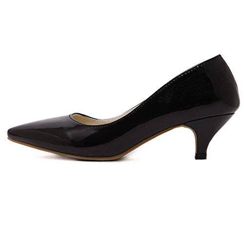 Allhqfashion Femmes Pointu Fermé Orteils Kitten-talons En Cuir Verni Solides Pompes-chaussures Noires