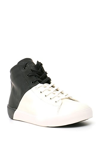Leather Crown Herren MCBI185014O Weiss/Schwarz Leder Hi Top Sneakers