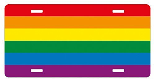 zaeshe3536658 Pride License Plate, Horizonta Rainbow Colored Flag of Gay Parade Freedom Equality Love Passion Theme, High Gloss Aluminum Novelty Plate, 6 X 12 Inches. by zaeshe3536658