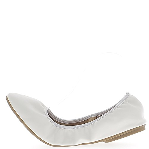 Ballerines grande taille blanches aspect cuir brillant pliables