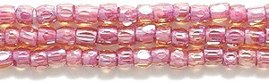 (Preciosa Ornela Czech 3-Cut Style Seed Glass Bead, Size 9/0, Color Lined Topaz with Pink)