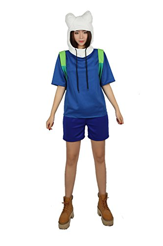 Xcoser Finn The Human Cosplay Costume Adults Deluxe Hoodie & Pants XL ()