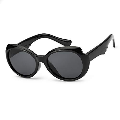 (DukeIo Polarized Sunglasses for Kids - Unbreakable Rubber Frame for Babys/Girls/Boys Age 3~8 (Jet Black Frame))