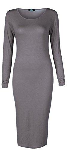 Forever Womes Plain Long Sleeves Bodycon Pencil Midi Dress
